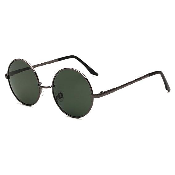 Amazon.com: Moda anteojos de sol polarizadas redondo clásico ...
