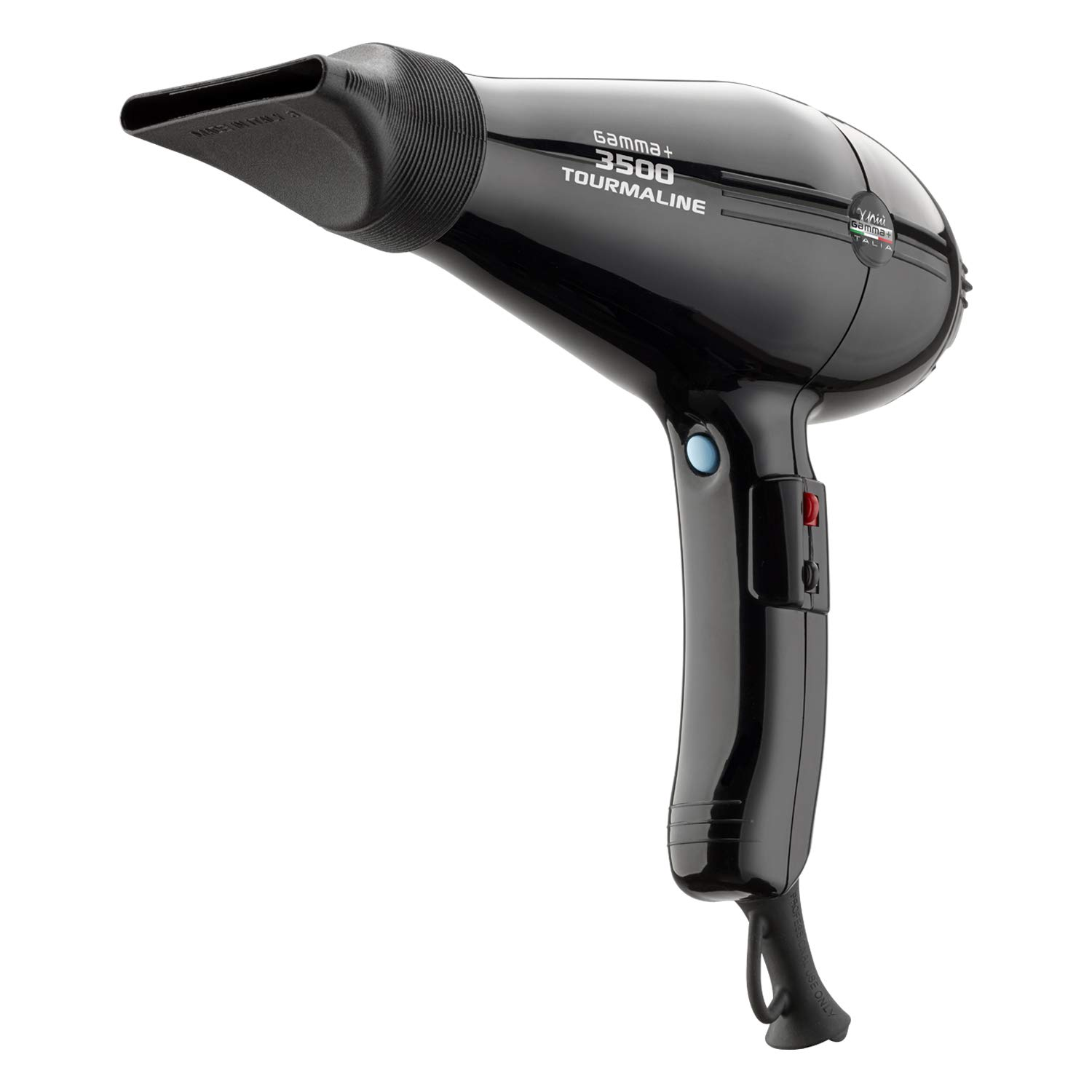 GAMMAPI PI 3500 Tourmaline – Ionic Hair Dryer with Powerful Professional AC Motor, Highest Power and Heat, Made in Italy by GammaPiu – Black