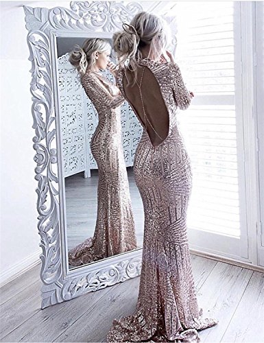 YSMei Women's Long Mermaid Sequins Evening Dresses Backless Sleeves Prom Formal Gown Rose Gold 6 ()