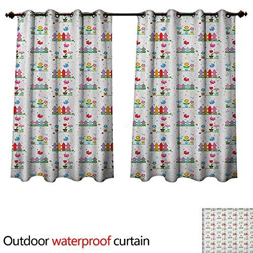 Anshesix Floral 0utdoor Curtains for Patio Waterproof Bedding Plants Garden Fences Cottage Yard Flowers in Pots Childish Beetles Pattern W108 x L72(274cm x 183cm)