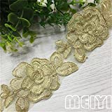 1 Yard Gauze Flower Lace Edge Trim Ribbon 6.5 cm Width Vintage Style Golden Edging Trimmings Fabric Embroidered Applique Sewing Craft Wedding Bridal Dress Embellishment DIY Decor Clothes Embroidery