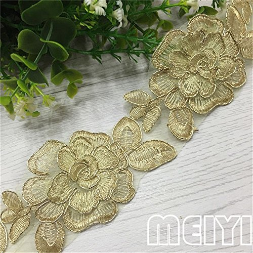 1 Meter Gauze Flower Lace Edge Trim Ribbon 6.5 cm Width Vintage Style Golden Edging Trimmings Fabric Embroidered Applique Sewing Craft Wedding Bridal Dress Embellishment DIY Decor Clothes Embroidery