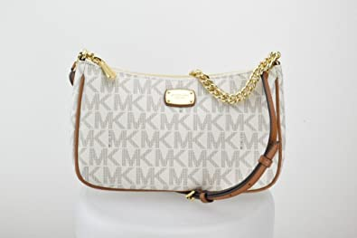 a26e0a081045 Michael Kors Jet Set Item Convertible Pouchette Crossbody Bag Purse Handbag  (Vanilla/Acorn)