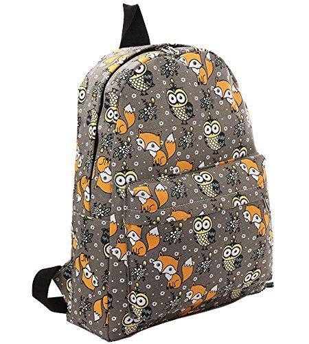 Renard Femme Fonction Voyages Dos Sac Backpack Loisir Toile Chouette Gris Animé Multi Scolaire À Dessin Modèle Minetom ZP17qAI7