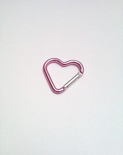 Amazon.com: Mosquetón en forma de corazón rosa con mosquetón ...