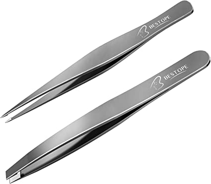 2 Pincers Set Straight Angled Pointed Tweezers Flat Tweezers Insulated Grips