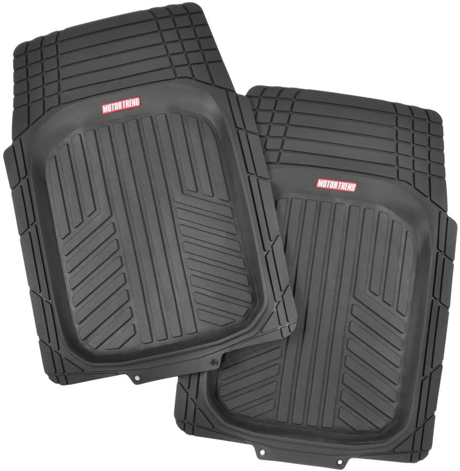 All Weather Protection BDK 2 Front FlexTough Contour Liners Deep Dish Heavy Duty Rubber Floor Mats for Car SUV Truck /& Van Odorless Black