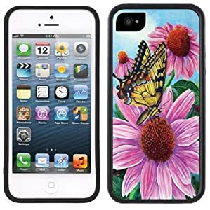 New Style Butterfly Purple Flower Handmade iPhone 5C Black Case