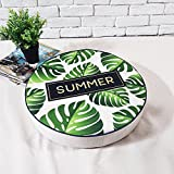 MEMORECOOL LIGHT UP YOUR HOME America Rural Green Plants Style Zafu, Thicken Floor Seat Pillow Mat, Green Leaves, 16 Inch