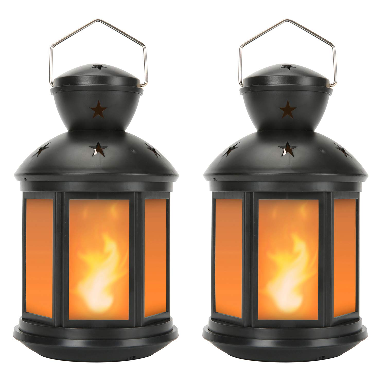 Decorative Lanterns Battery Powered LED, with 6 Hours Timer,Indoor/Outdoor,Lanterns Decorative for Wedding,Parties,Black-2pcs
