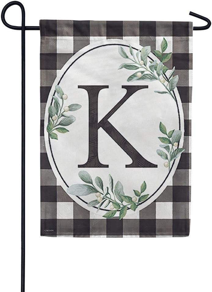 Carson Monogram Garden Flag - Buffalo Check K, 12.5X 18 Inch Outdoor Decorative Yard Holiday Seasonal Flag, Buffalo Plaid Black and White Checkered Flag, Monogram Letter K Flag