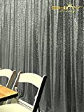 ShinyBeauty 8FTx8FT-Gunmetal-Sequin Backdrop,Glitz Sequin Fabric Curtain Backdrop For Party or Wedding Sequin Photo Booth Background