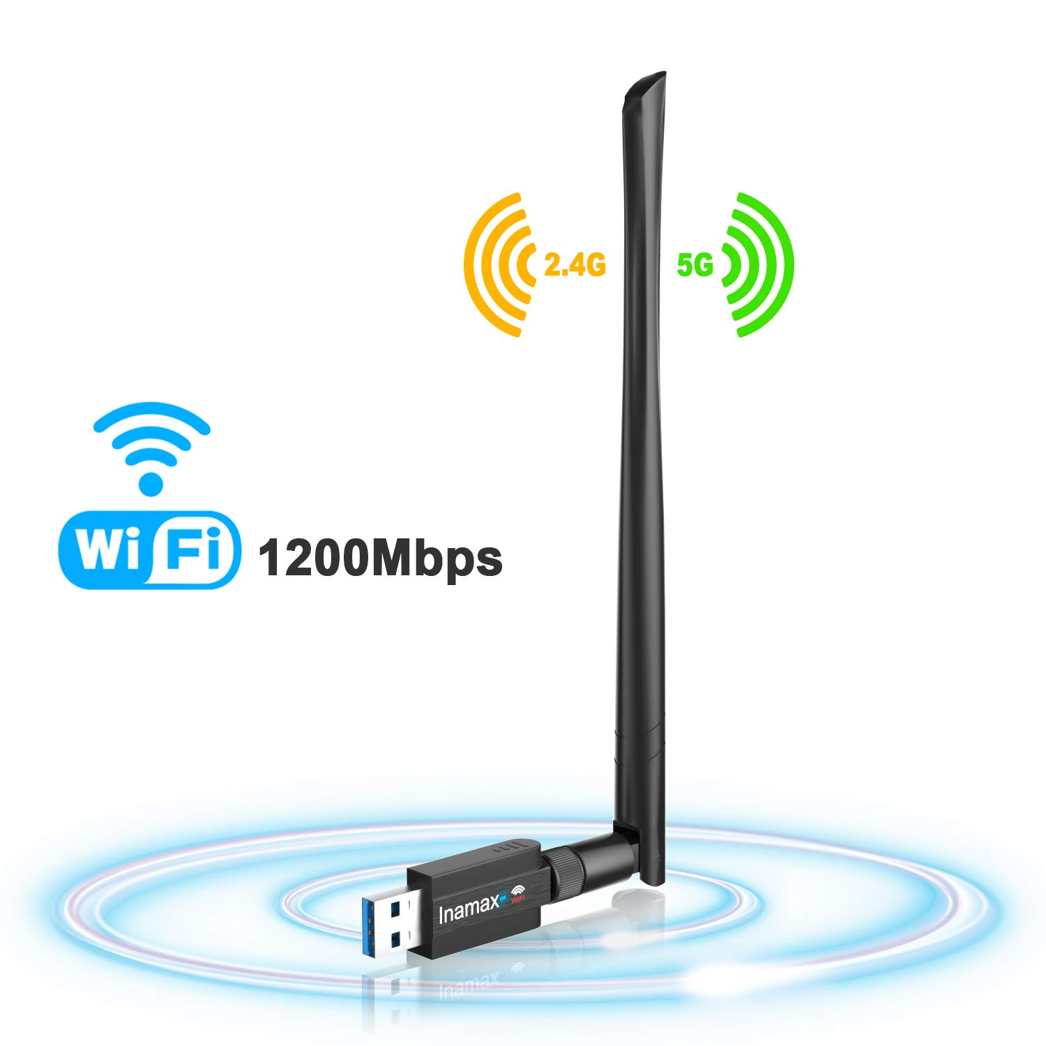 USB WiFi Adapter 1200Mbps, USB 3.0 Wireless Network WiFi Dongle with 5dBi Antenna for Desktop Laptop PC Mac, Dual Band 2.4G/5G 802.11ac,Support Windows 10/8/8.1/7/Vista/XP,Mac10.5-10.13