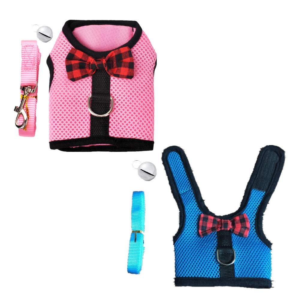 Fully 2 Set Small Pet Harness Vest Mesh Leash with Safe Bell Breathable for Bearded Dragon Guinea Pig Ferrets Rabbits Cats (M: Chest: 30-34cm/11.81-13.28'', 1xpink+1xgreen)