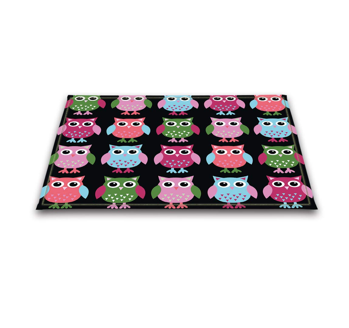 LB Cute Colorful Cartoon Owls Small Shower Rugs for Boys Kids, Safe Non Slip Rubber Backing Comfortable Soft Surface, Animal Theme Clip Art Decor Rug 15 x 23 Inches