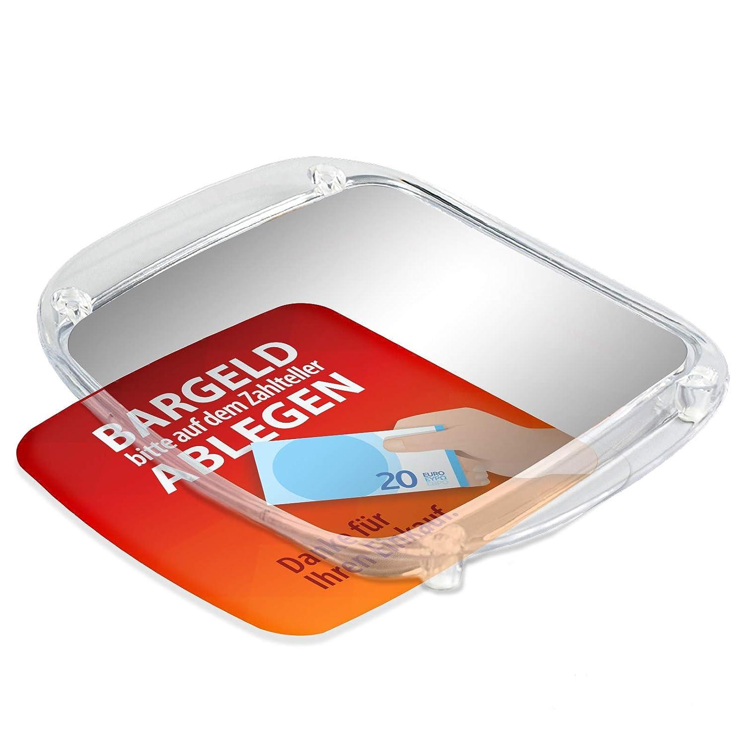 Bitte Bargeld an der Kasse ablegen Händekontakt vermeiden Zahlteller