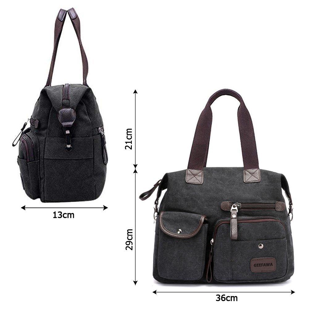 Women's Canvas Tote Bag Top Handle Bags Shoulder Handbag Tote Shopper Handbag crossbody bags (Black) by Greatbuy-US (Image #3)