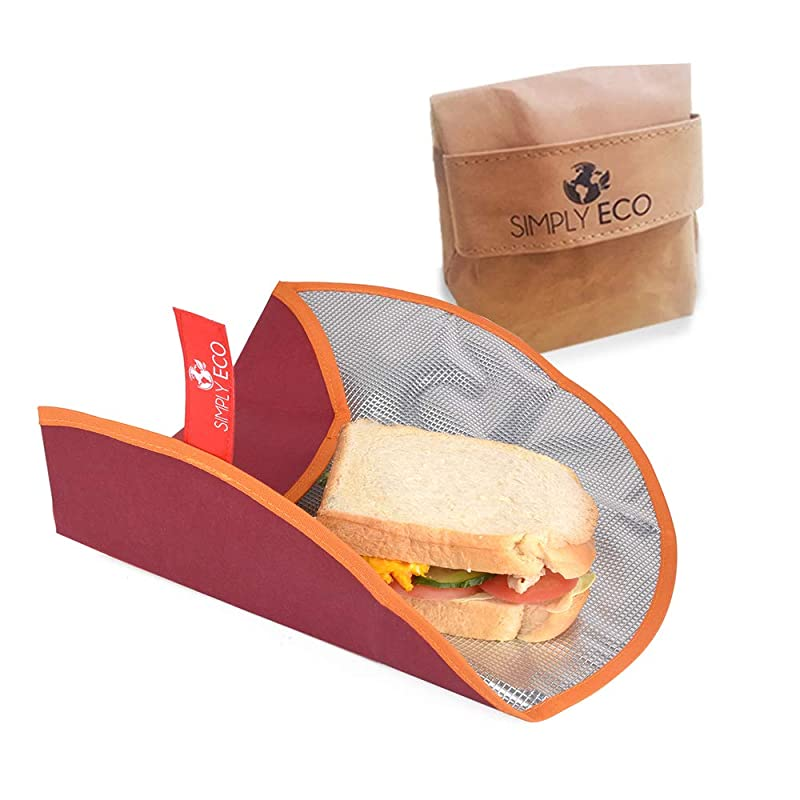 Simply Eco Washable paper Reusable food wrap for sandwich & snack bags for lunch. Foodsaver bags and reusable plastic wrap alternative