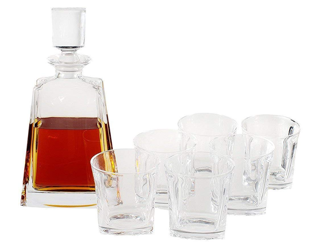 Whiskey Decanter Set by Opul (10 Piece Set) - Includes Crystal Whiskey Glasses Set, Whiskey Stones, Stainless Steel Tray and Tongs - Elegantly Designed to Last the Test of Time by OPUL (Image #3)