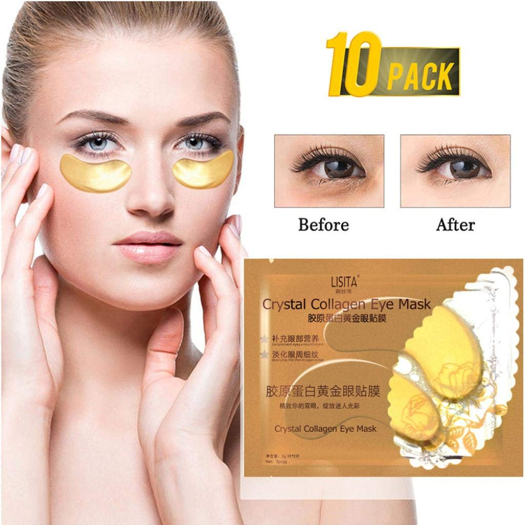 10 Pairs Eye Mask - New Crystal Gold Gel Collagen Eye Pads, Anti Aging,Remove Bags,Dark Circles & Puffiness,Anti Wrinkle,Moisturising,Hydrating,Uplifting