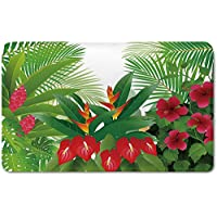 Memory Foam Bath Mat,Leaf,Tropical Exotic Forest Hibiscus Red Ginger and Anthurium FlowersPlush Wanderlust Bathroom Decor Mat Rug Carpet with Anti-Slip Backing,White Dark Green and Hot Pink