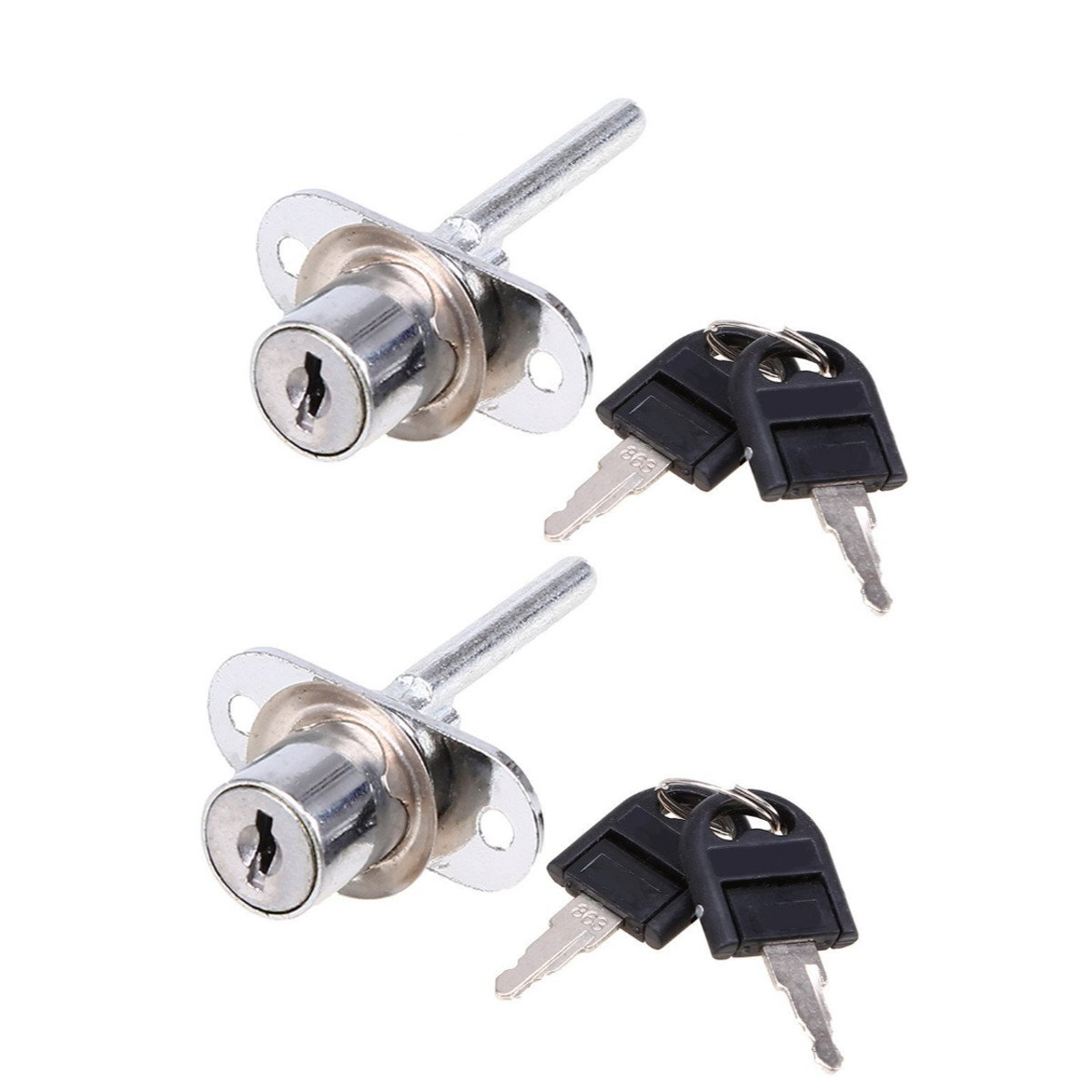 WCIC 2PCS Office Drawers Lock, Zinc Alloy Security Lock with Keys for Filing Cabinets Furniture Diameter 16mm, Length 61mm