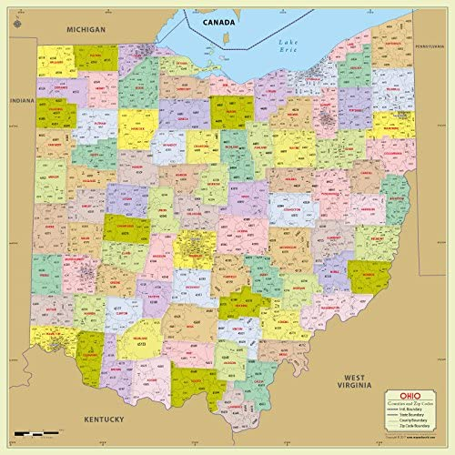 Amazon Com Ohio County With Zip Code Map 36 W X 36 H Office Products