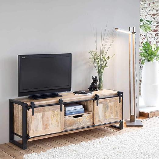 Mueble de televisión industrial madera metal, diseño de Nueva YORK ()/MR1 grande: Amazon.es: Hogar