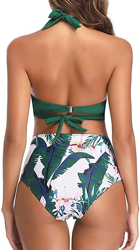 Women Two Piece Swimsuit Halter Bandage Wrap Bikini Set Push-Up Ruched High Waist Swimwear