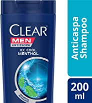 Shampoo Anticaspa Clear Men Ice Cool Menthol 200 ML, Clear, Branco