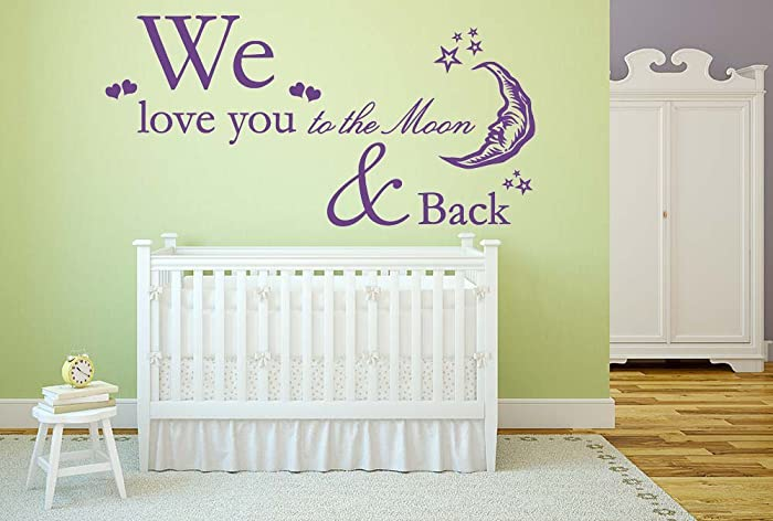 we love you to the moon back quote vinyl wall art sticker mural