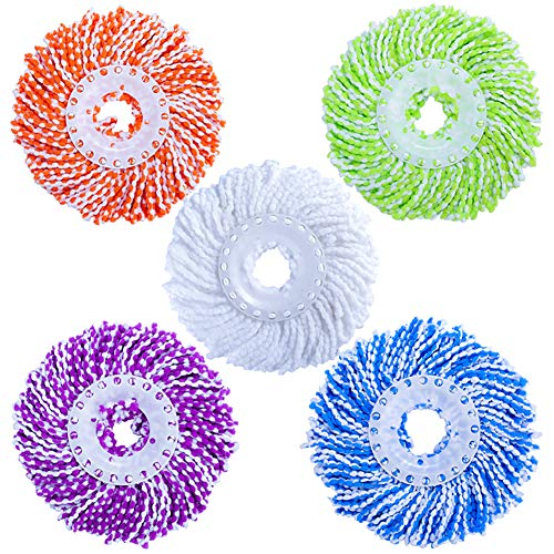 (LEMNUY Spin Mop Head Replacement 5-Pack, Microfiber Refill Heads Universal for 360 Spin Magic mopping, Round Shape Standard Size (Green, Yellow, Blue, Purple and White))