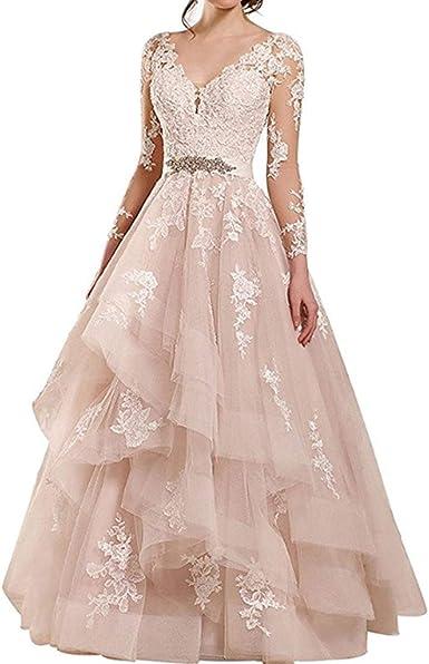 Rudina Women S Double V Neck Lace Wedding Dress Long Sleeve