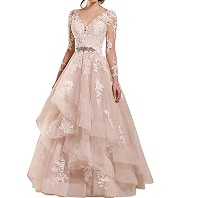 Rudina Women s Double V-Neck Lace Wedding Dress Long Sleeve Ruffles Applique  Bridal Gown Blush f851057e47