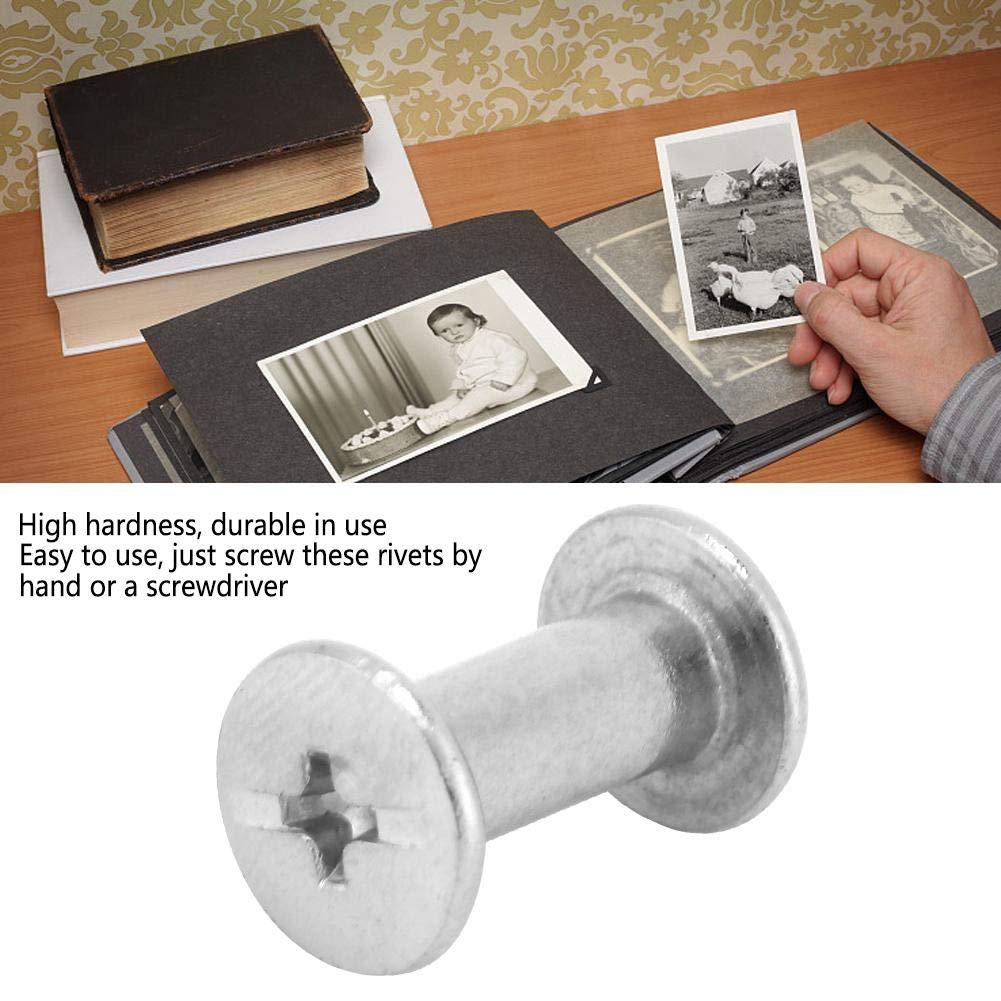 10//12//15 tornillos de encuadernaci/ón niquelados de hierro remaches para libro de cuentas /álbum de fotos encuadernaci/ón 20 piezas M5
