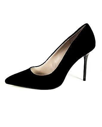 b40d6f5b099d Zara Women Leather high-heel court shoes with chrome heels 1222 301 - Black  - 41 EU