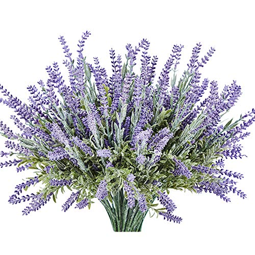 KLEMOO Artificial Lavender Flowers Plant 8 Piece Bundle for Wedding Decor and Table Centerpieces, Brighten up Your Home Kitchen Garden Indoor Outdoor