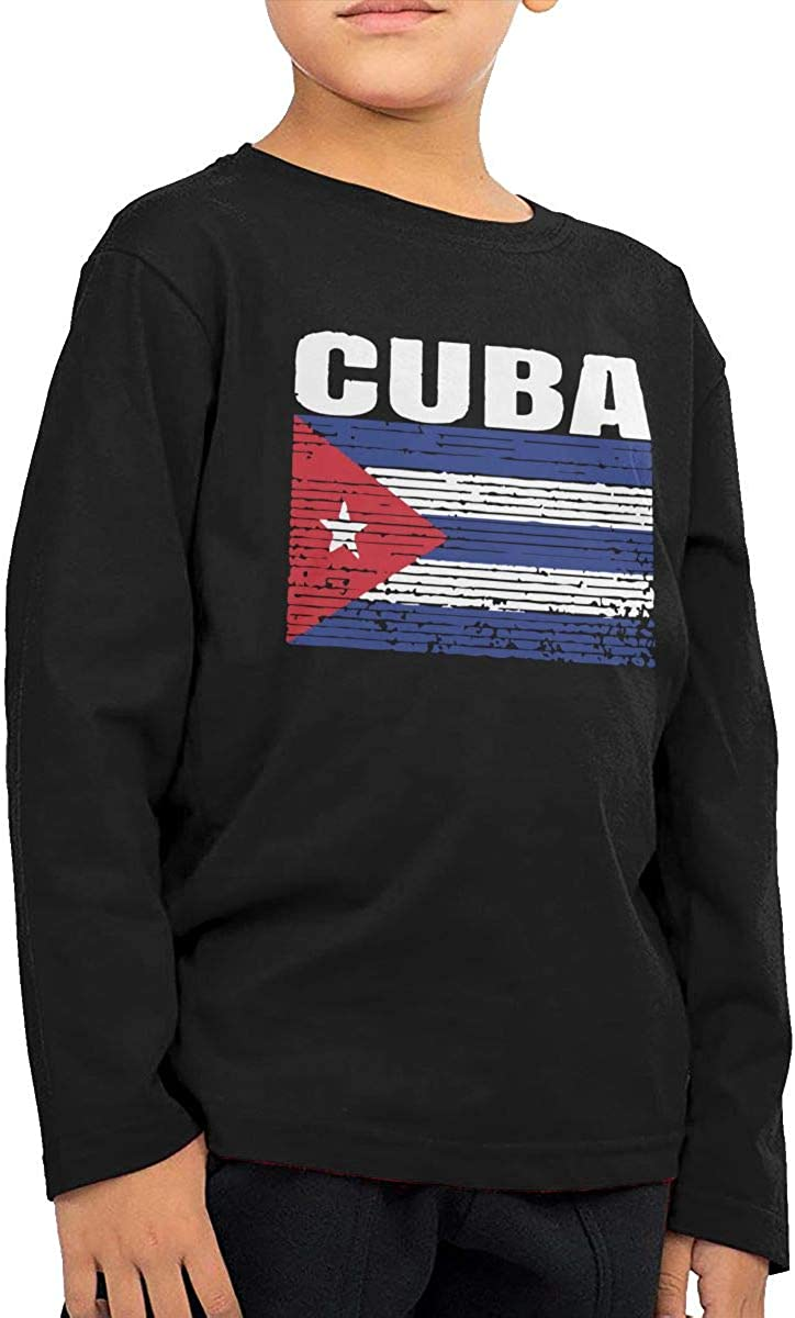 Cuba Country Vintage Cuban National Flag Toddler//Infant Crewneck Long Sleeve Shirt T-Shirt for Toddlers
