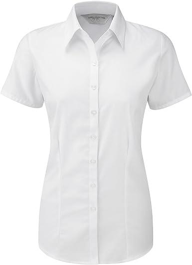 Russell- Camisa de Trabajo de Manga Corta en Tela en espiguilla para Mujer
