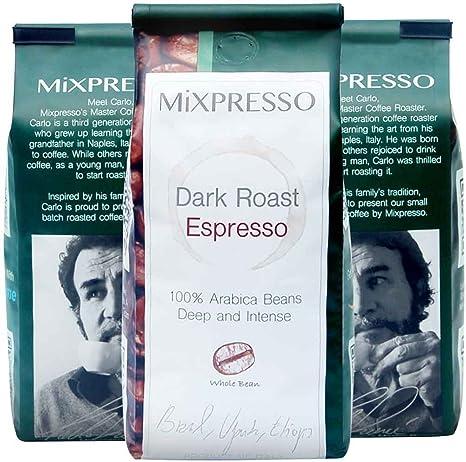 Mixpressos Whole Bean Dark Roast Espresso, Box of 4 Bags of 10 oz Each (TTL. 40 oz) (Pack of 4) (Dark Roast Espresso)