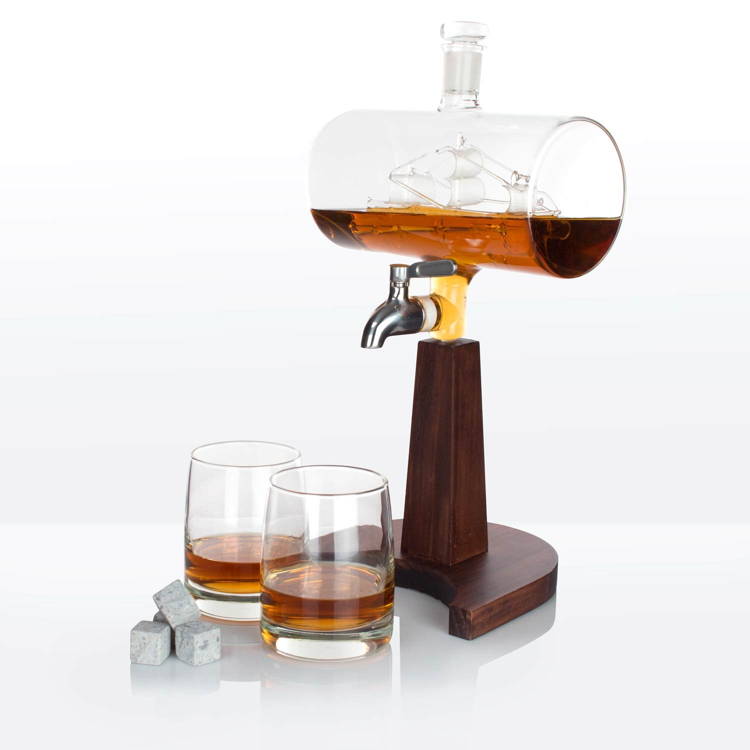 Atterstone Cylinder Ship Whiskey Decanter Set - 1150ml / Full Set with 2 Whiskey Glasses, Decanter Stand, Whiskey Sipping Stones and Funnel