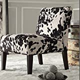 Metro Shop INSPIRE Q Black & White Faux Cow Hide Fabric Accent Chair-Decor Black Cowhide Fabric Accent Chair