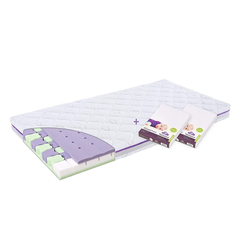 Träumeland Set Matratze Butterlfy 70 x 140 + 2 Spannbetttücher Jersey weiß