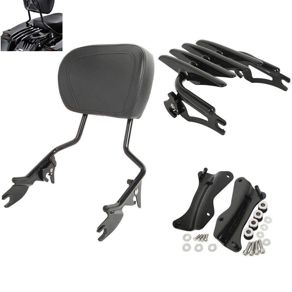 TCMT Detachable Passenger Backrest Sissy Bar With Stealth Luggage Rack 4 Point Docking Hardware Kits Fits For Harley Touring 2014-2019 (black, Style B)