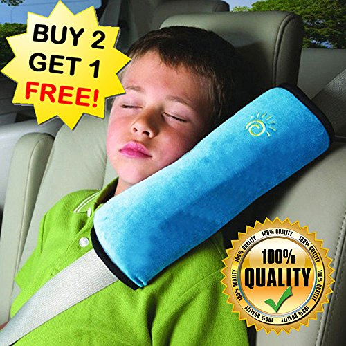(BUY 2 GET 1 FREE) Car Neck Pillow For Kids (Soft Version), Seatbelt covers, Car Seat Strap Covers, Car Seat Strap & Belt Covers; Car Pillow Memory Foam Neck Pillow (Color: Blue) (Seat Pets Pink Cat Car Seat Toy)