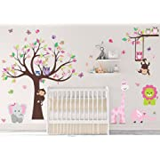 DEKOSH Kids Pink Jungle Theme Peel & Stick Girl Nursery Wall Decal, Colorful Owl Giraffe Lion Tree Decorative Sticker for Baby Bedroom, Playroom Mural