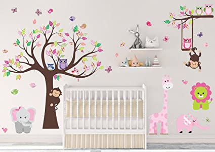 af909a8d934f Image Unavailable. Image not available for. Color  DEKOSH Kids Pink Jungle  Theme Peel   Stick Girl Nursery Wall Decal