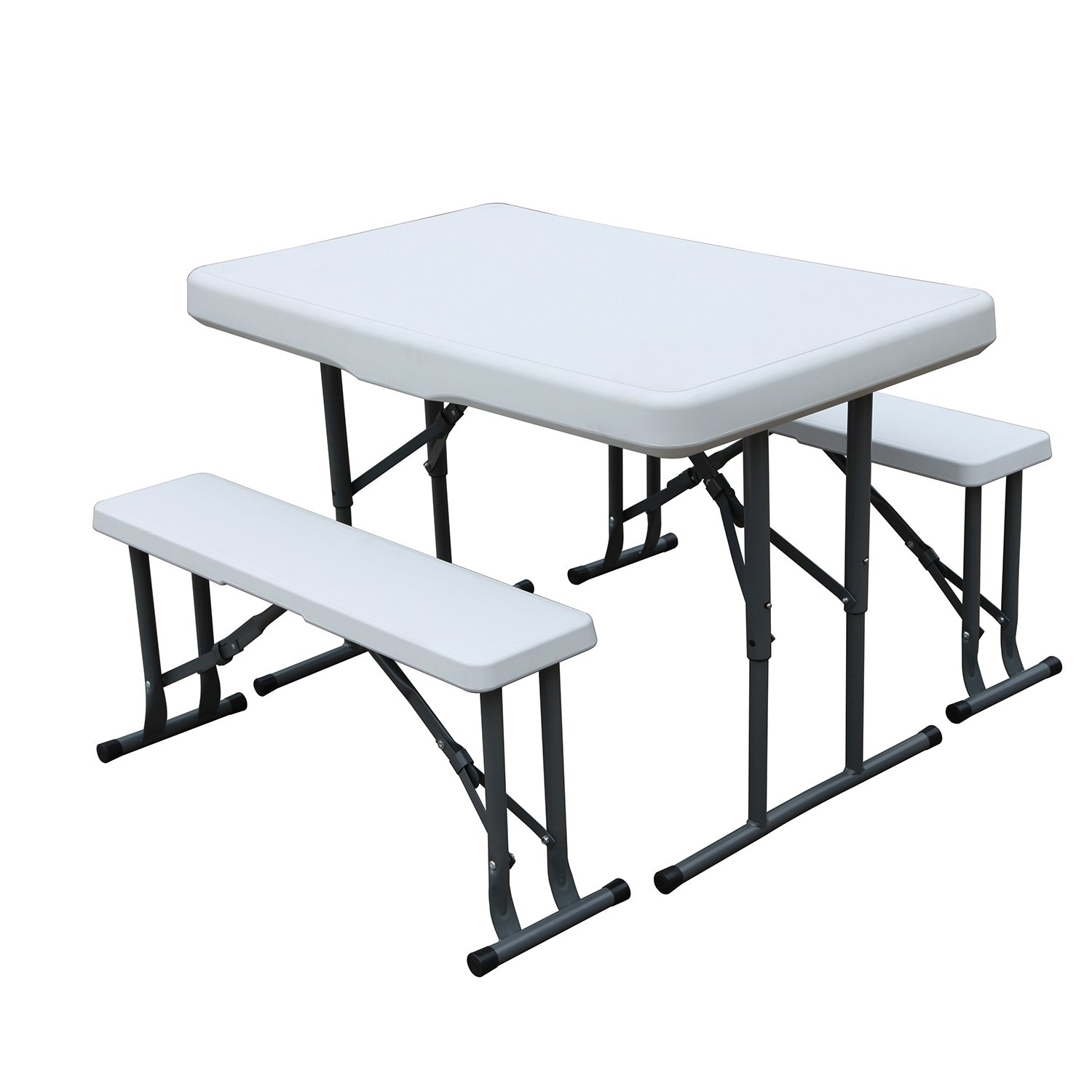 DlandHome Camping Folding Table BBQ Portable Desk Outdoor Dinner Table Utility Table and Bench Set DCAHL-HL-B105