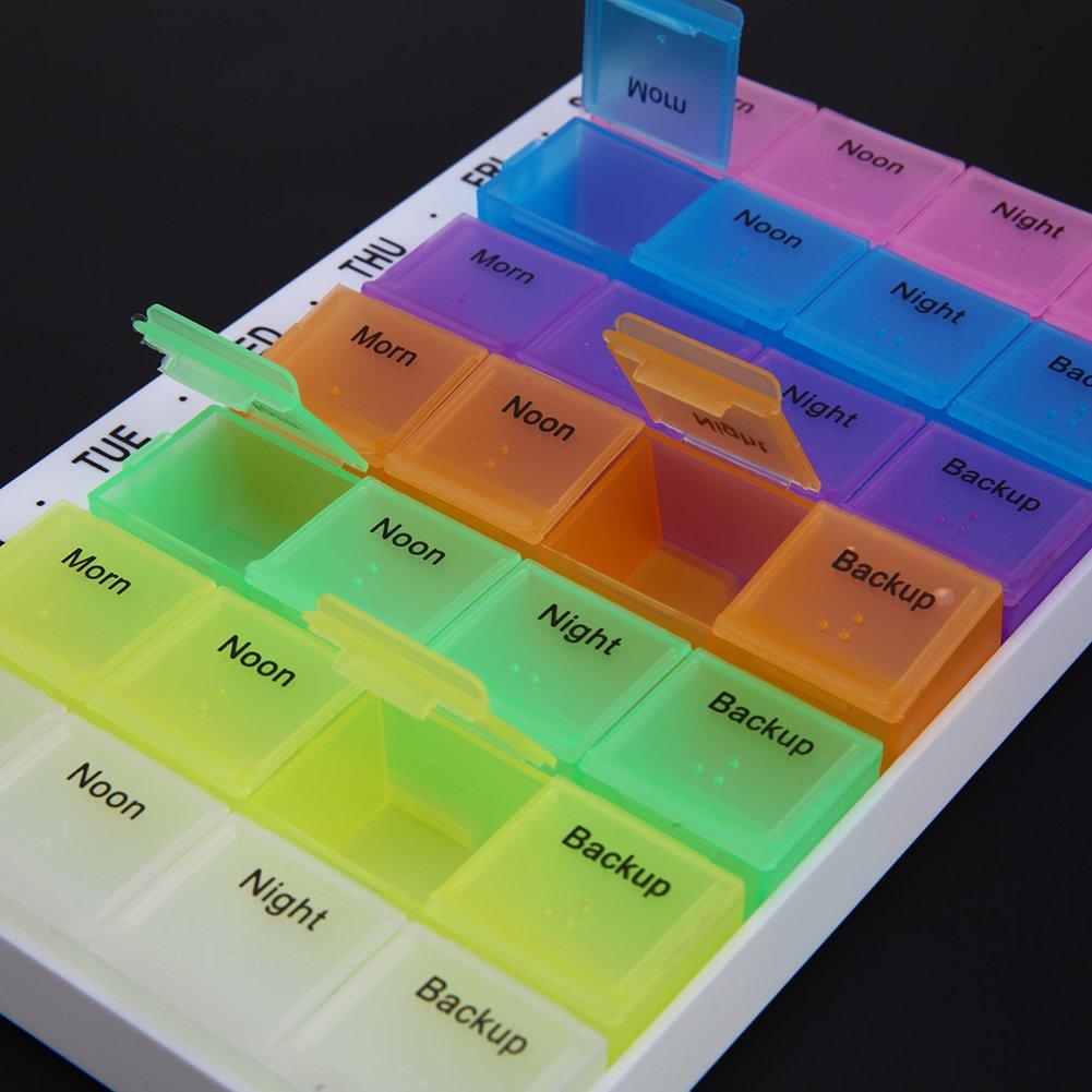 7 d/ías Tableta Caja de Almacenamiento para Pastillas Starnearby Caja de Aparejos de Pesca 28 Compartimentos Soporte de Medicina.