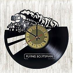 Flying Scotsman clock Vintage Railway Train vinyl record wall clock gift idea for birthday, christmas, women, men, friends, girlfriend boyfriend and teens - living kids room nursery (Gold/Black)